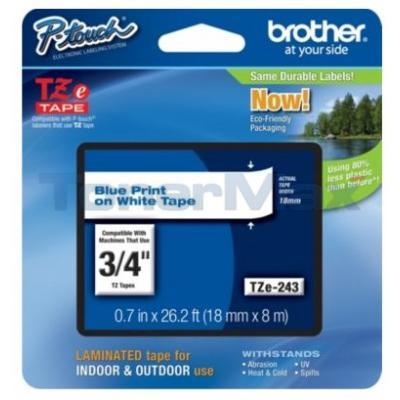 BROTHER TZ LAMINATED TAPE BLUE ON WHITE 0.7 IN X 26.2 FT